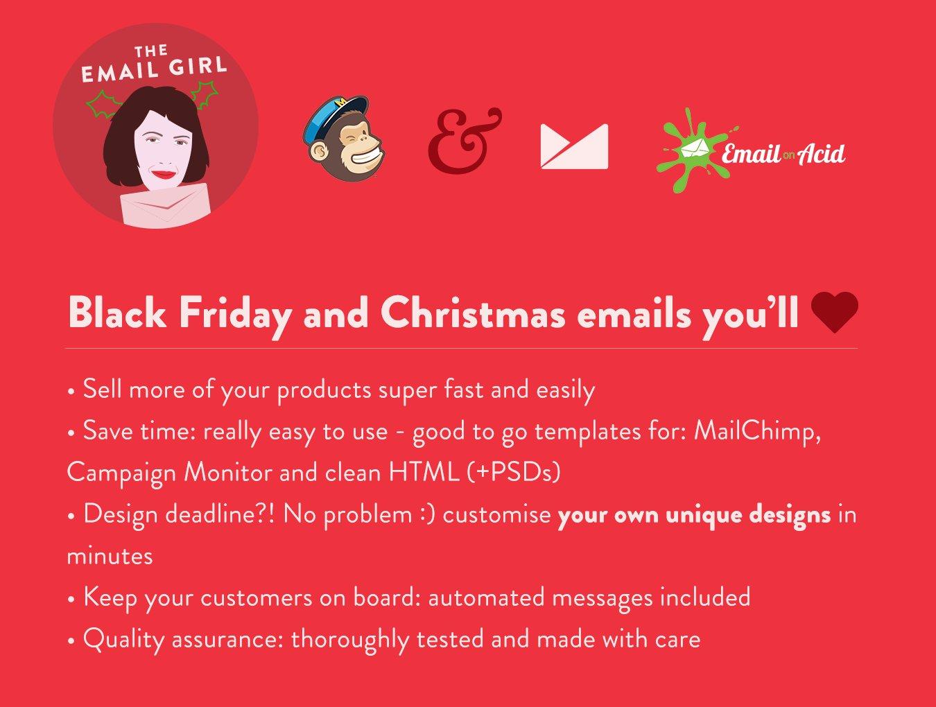 black friday christmas emails email templates creative market. Black Bedroom Furniture Sets. Home Design Ideas