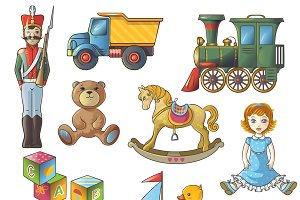 Kids Toys Icon Set