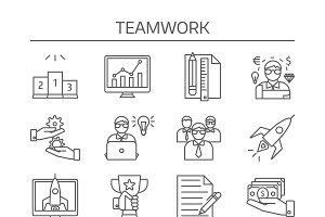Teamwork Linear Icons Set