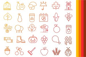 Autumn Icons -Outline Collection