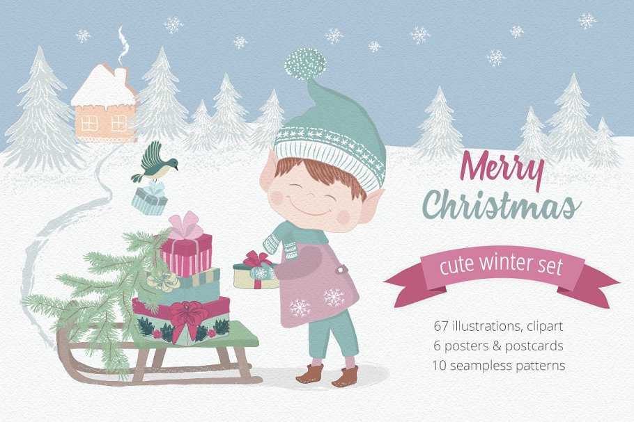 Christmas Illustrations Clip Art.Merry Christmas Illustration Set Illustrations Creative