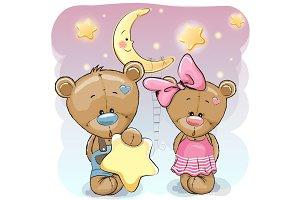 Teddy Bear Girl and Boy with a star