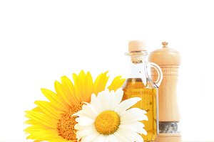 Bottle of oil and sunflower