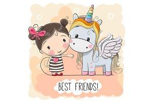 Cute Cartoon Girl and Unicorn