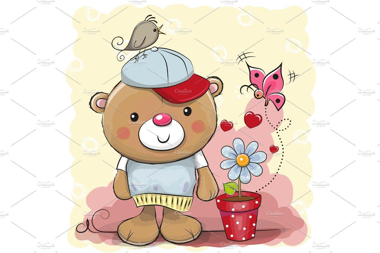Cute cartoon Teddy bear with flower | Custom-Designed ...