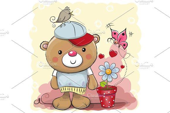 Cute cartoon Teddy bear with flower