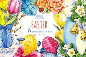 Easter. Watercolor illustrations