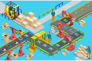 Automatic factory with conveyor