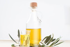 Glass bottle of olive oilю