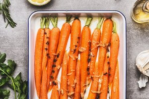 Roasted Carrots on baking tray