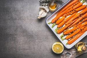 Roasted carrots on baking sheet