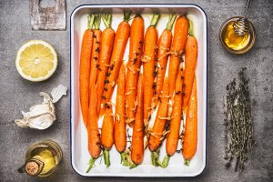 Carrots on baking tray