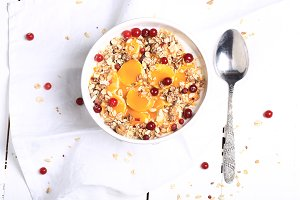 Muesli with fresh berries. healthy breakfast