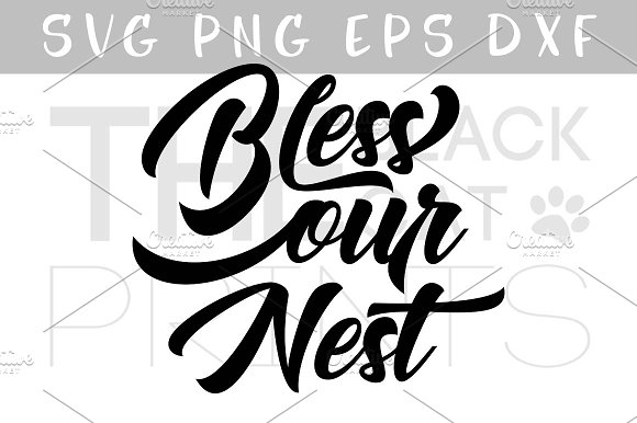 Bless our nest SVG DXF PNG EPS in Illustrations