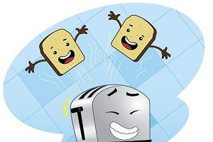 Cartoon food poster design with toas