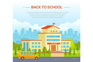 City school building with place for text - modern vector illustration