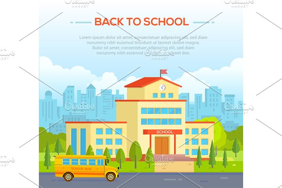 City School Building With Place For Text Modern Vector Illustration