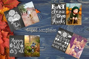 Fall Chalkboard Photo Card Templates