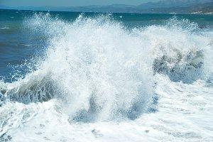 Big sea wave with sea foam