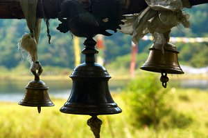 Bronze bells in indian temple