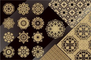 Vector rosettes, borders, patterns