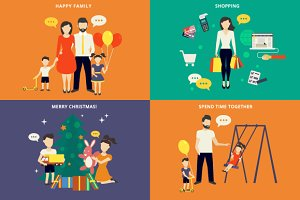 Family flat illustrations set #2