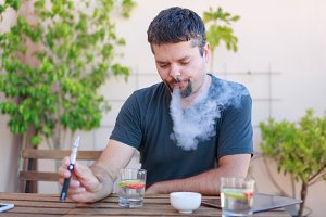 Vaping Adult Man, Smoking Electronic Cigarette