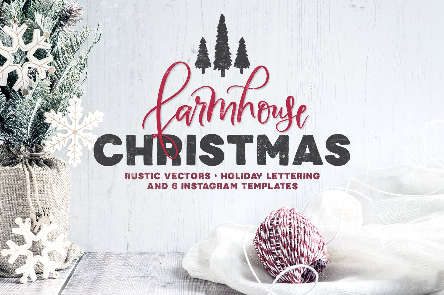 Farmhouse Christmas Lettering Kit ~ Illustrations ~ Creative Market
