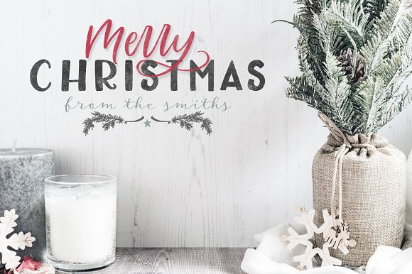 farmhouse christmas lettering kit illustrations creative market - Farmhouse Christmas