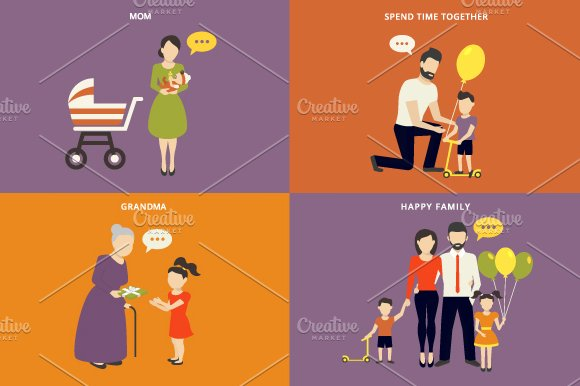 Family flat illustrations set #3