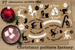 Christmas pattern factory. Bundle.