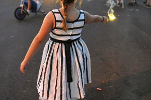 Small girl and sparkler