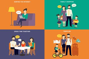 Family flat illustrations set #4