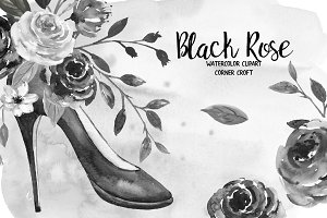 Black Rose Watercolor Clip Art
