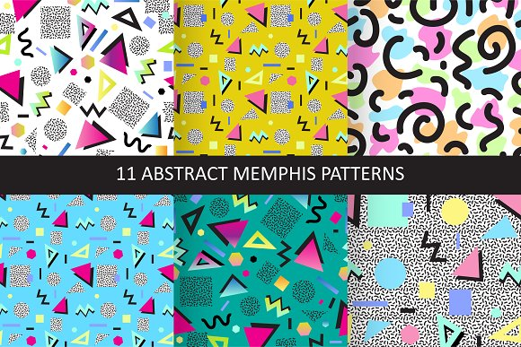 11 abstract memphis patterns