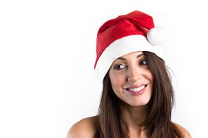 Beautiful model wear santa hat