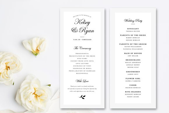 Editable Wedding Program Template Stationery Templates Creative - Photoshop wedding program template