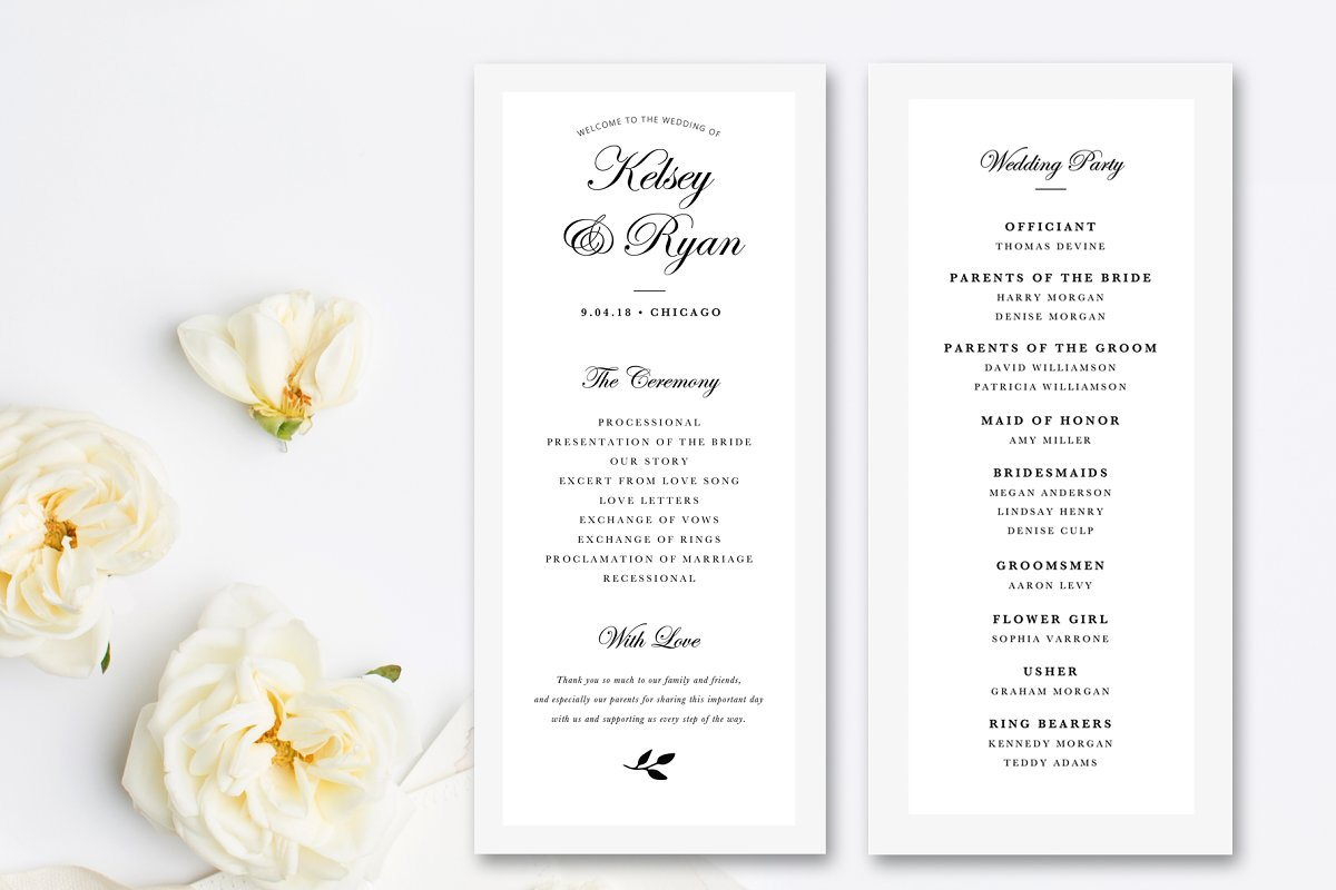Wedding Programs Templates.Editable Wedding Program Template Stationery Templates Creative