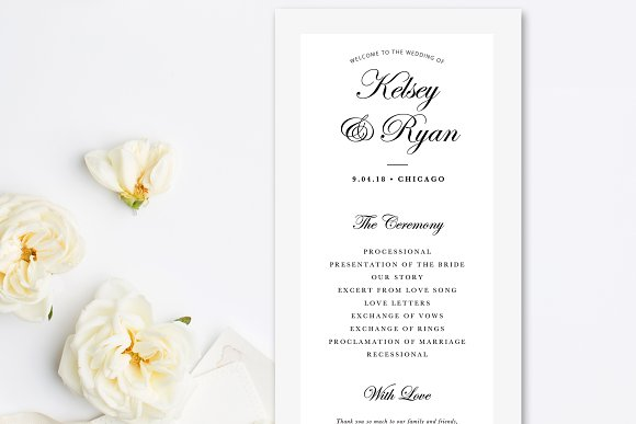 Editable Wedding Program Template ~ Stationery Templates ~ Creative ...