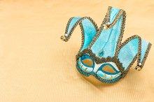 Blue carnival mask harlequin
