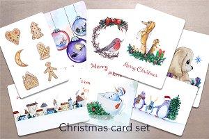 Watercolor Christmas card set