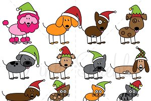 Christmas Stick Figure Pets Clipart