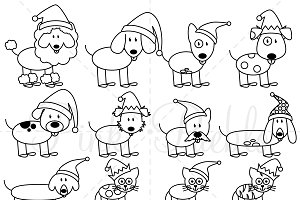 Christmas Stick Figure Pets Clip Art