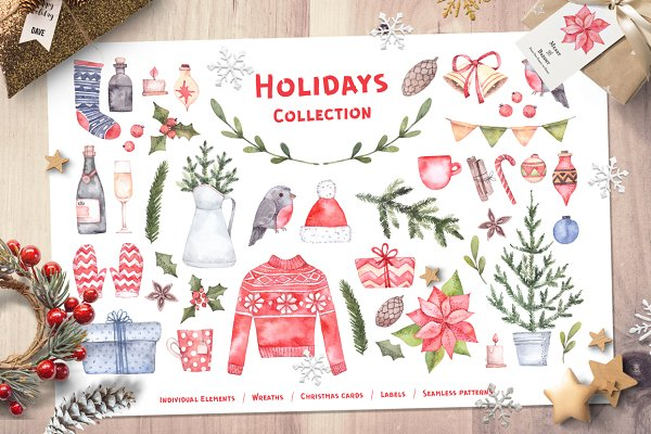 Christmas holidays. Watercolor set