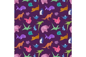 Origami paper animals geometric game japanese toys design seamless pattern vector illustration.