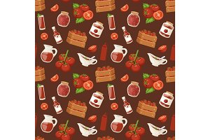 Fresh background organic red tomato vegetable products seamless pattern vector illustration.