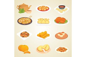 Chinese traditional food dish delicious cuisine asia dinner meal china lunch cooked vector illustration