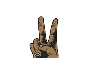 Illustration of victory hand sign
