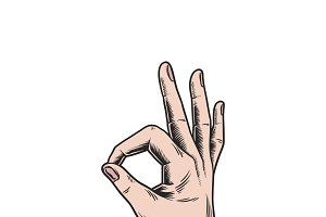 Illustration of hand making ok sign
