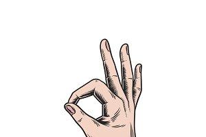 Illustration of hand making ok sign
